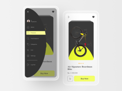 dragBike UI Design desainuiux-rp e-coomerce dribbble sidebar simple minimal shot app clean bike ui design