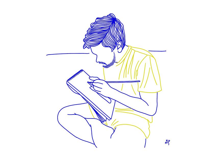 Boy doodling in his sparetime - Portrait illustrated in Line Art illustration art lineart custom portrait linearart handdrawn doodles illustration digital portrait digital illustration artwork artinquarantine lockdown
