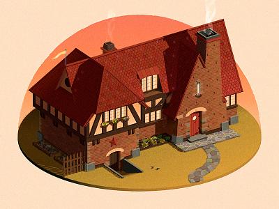 Cozy Home photoshop illustrator design building isometric adobeillustrator vector flat illustration
