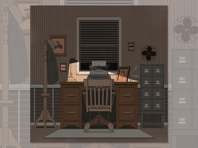 1920s Detective Office vector illustration room moody adobeillustrator design stroke flat