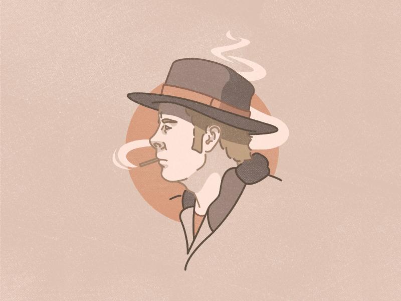 Dana Andrews In 'The Ox-Bow Incident' vector illustration portrait cowboy flat design stroke adobeillustrator