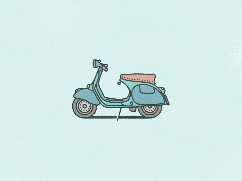 1950s Vespa 150GS  vector illustration moped design stroke minimal adobeillustrator flat