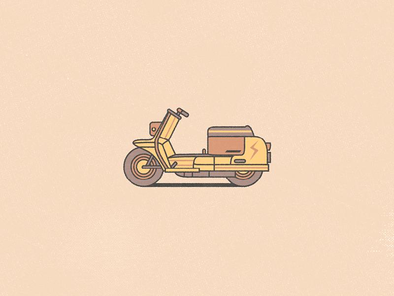 1960s Harley Davidson Topper vector illustration moped design stroke minimal adobeillustrator flat