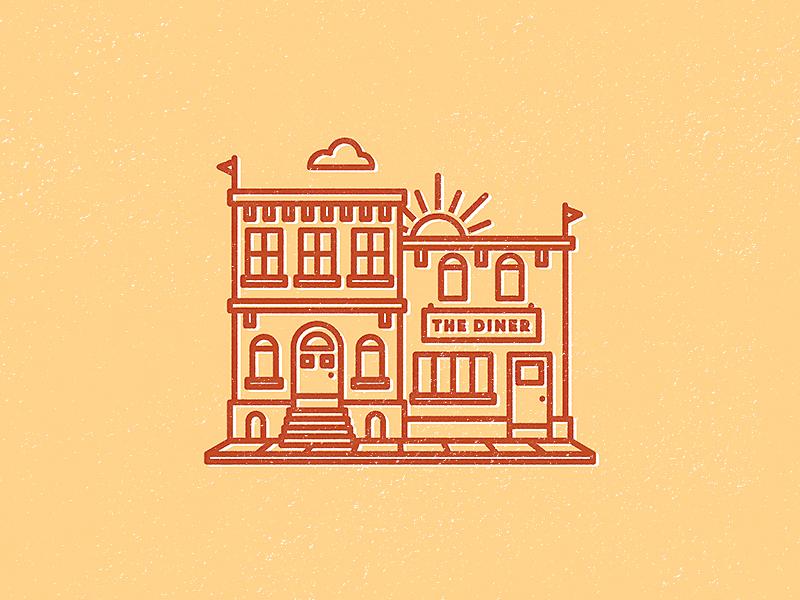 Sunday Sketch vector illustration house stroke flat adobeillustrator design