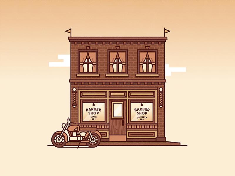 Barber Shop vector illustration building flat design stroke motorcycle flags brick