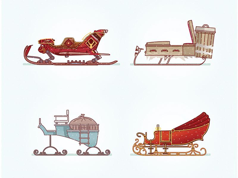 Santa's Sleigh In The Cinema vector illustration illustrator santaclaus sleigh christmas holidays