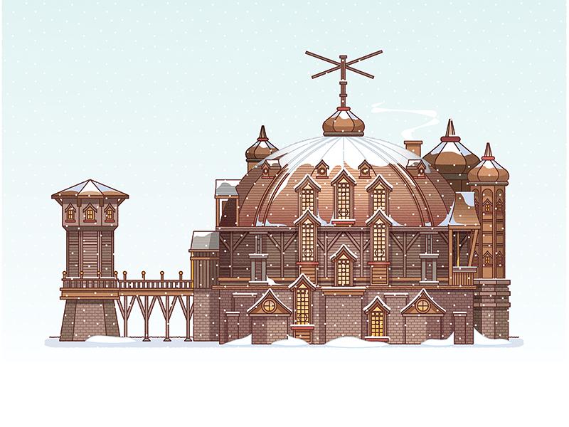 Santa's Workshops In The Cinema vector illustration building flat stoke design christmas snow