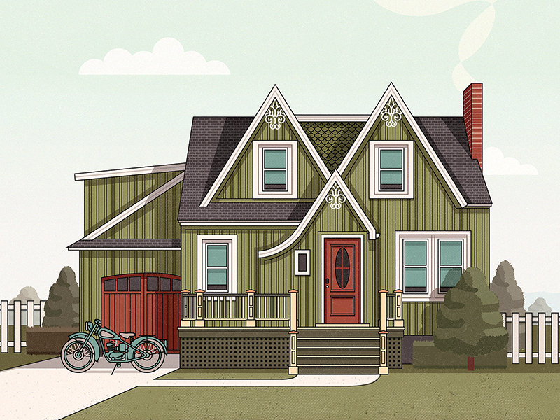 House & Motorcycle vector illustration illustrator adobeillustrator flat design house motocycle vehicle sky trees photoshop