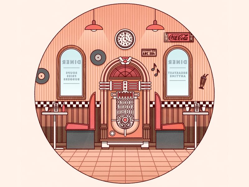 1950's Diner vector illustration illustrator adobeillustrator flat design diner restaurant