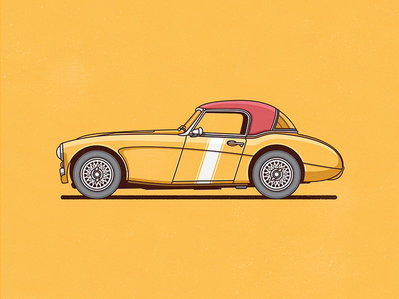 Austin Healey vector illustration car flat yellow