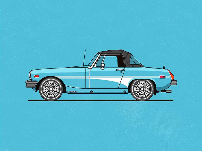 MG Midget vector illustration car flat blue