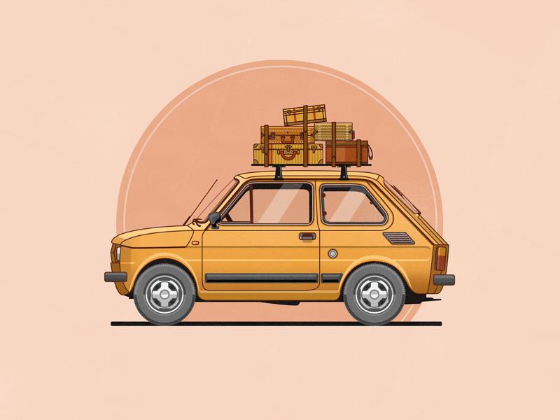 Fiat 126 vector illustration car flat yellow luggage