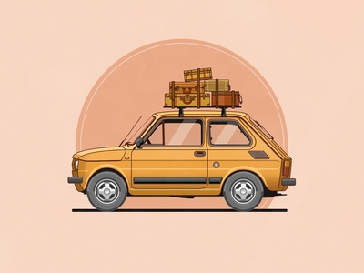 Fiat 126 vector illustration car flat yellow luggage