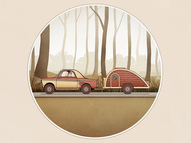 Foggy Forest Scene  vector illustration car red trees green