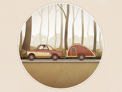 Foggy Forest Scene  vector illustration car red trees green