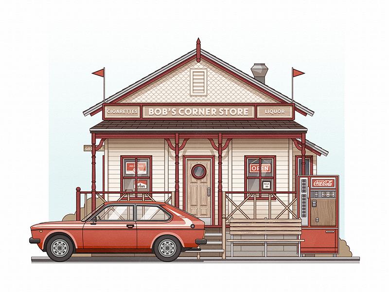 Fiat On The Corner illustration vector car flat stroke minimal colour orange
