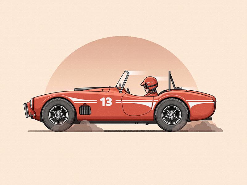 Shelby AC Cobra vector illustration car racecar flat adobeillustrator photoshop
