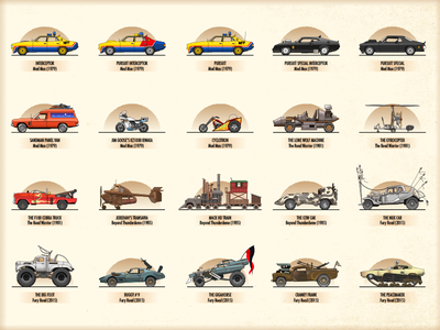 The Vehicles Of Mad Max cars illustration madmax vector