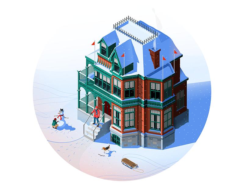 Winter Day design isometric winter snow building illustration vector