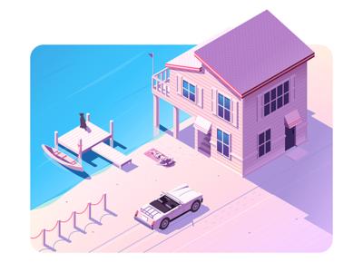 Beach House  shadows car water design isometric summer building illustration vector
