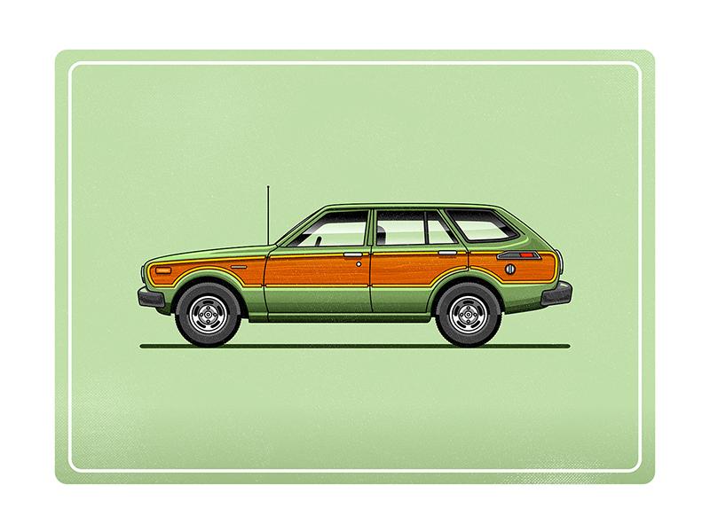 Toyota Corolla Deluxe Station Wagon illustrator stationwagon green illustration car vector
