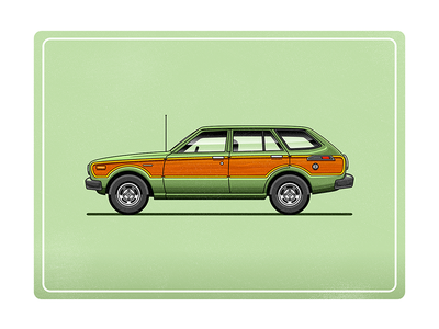 Toyota Corolla Deluxe Station Wagon illustrator stationwagon green illustration car vector
