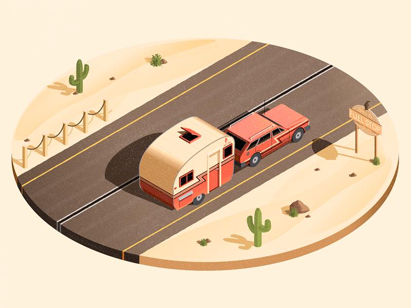 Desert Road isometric desert illustrator stationwagon pink illustration car vector