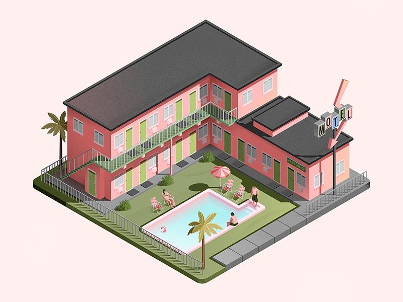 Flamingo Motel architecture building motel pink isometric illustration vector
