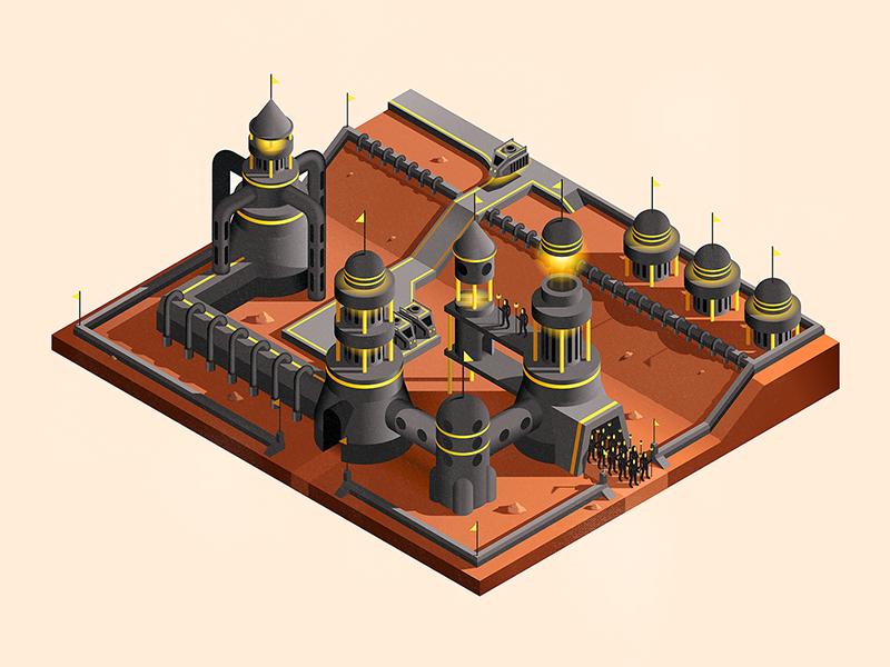 Desert Space Scene WIP isometric buildings space illustrator illustration vector