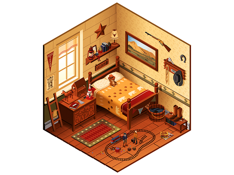 Wild Wild West bedroom cowboy illustrator illustration vector