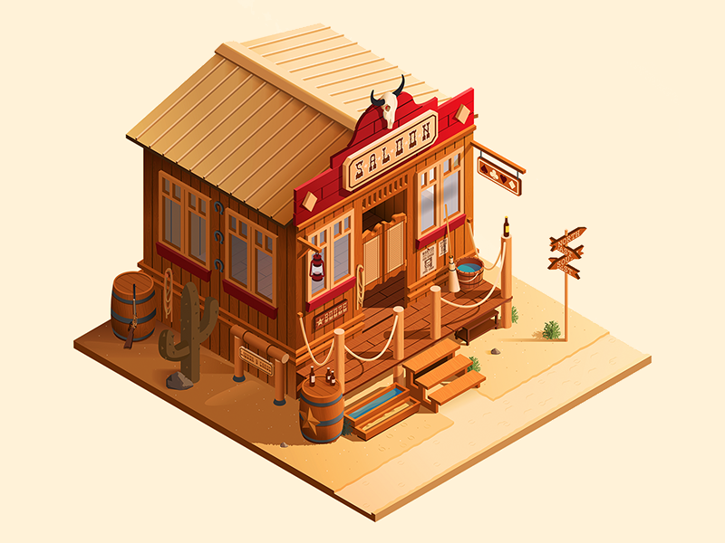 Wild Wild West Part 2 saloon cowboy illustrator illustration vector