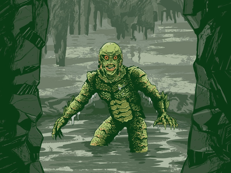 Creature from the Black Lagoon poster creature from the black lagoon horror movie poster vector illustration