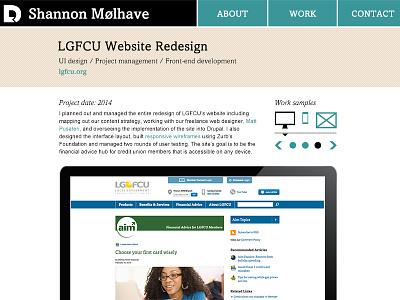 Project Page web design portfolio navigation