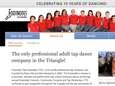 Footnotes Redesign website web design dance arts redesign