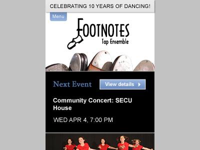 FTE Homepage: Mobile web design dance mobile