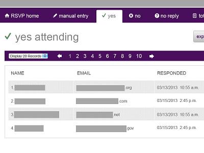 RSVP admin interface interface design web design