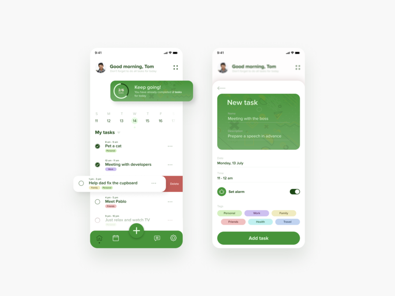 Time management app green calendar time management clean ui app app design uxdesign dailyinspiration ux uidesign ui interface design