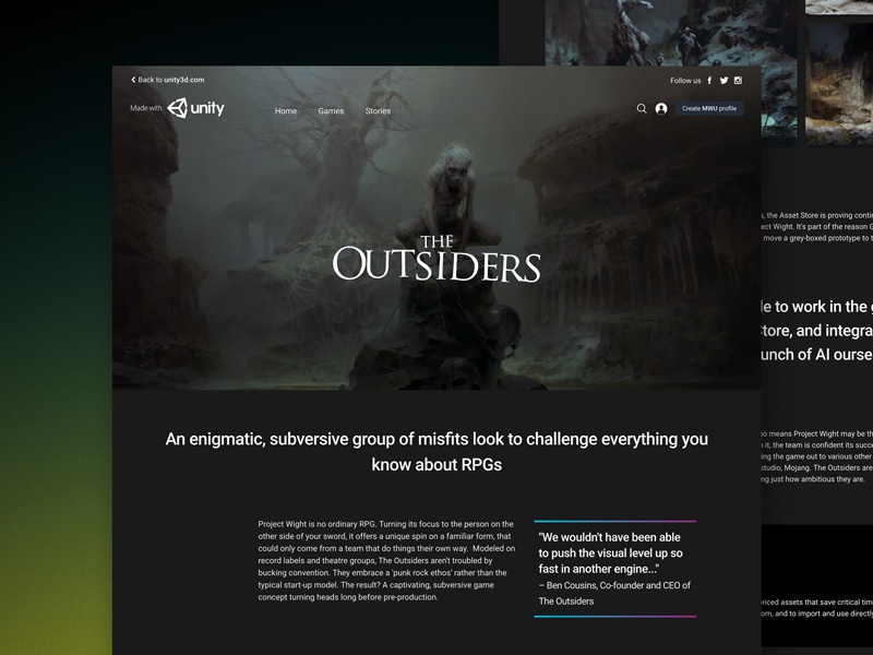 The Outsiders by Taylor Ho for Unity Technologies on Dribbble