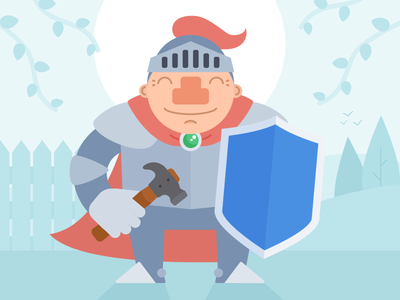 Robbie the Knight armour shield knight mybuilder hammer illustration