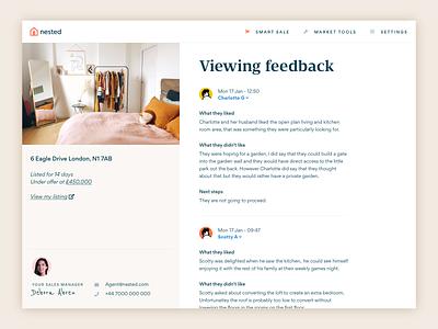 Viewing feedback avatar bedroom estate agent property nested ux design sketch ui