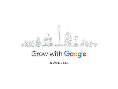 Grow with Google Indonesia vector line art illustration toraja house rumah gadang equator monument gapura bali monas surabaya statue borobudur indonesia google grow