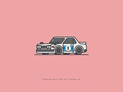 Car Series - Nissan Skyline 2000 GT-R vector skyline shot nissan lineart illustration coupe car artwork