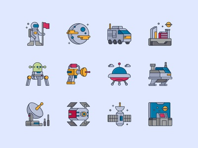 Space Icon Set robot satellite orbital station ufo control room laser gun distant colony colony transport alien planet astronaut space