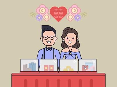 Engagement Day vector lineart character design illustration propose groom to be bride to be marriage wedding engagement
