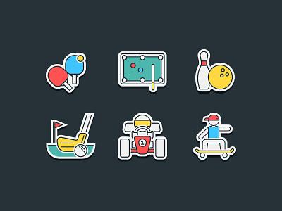 Sports & Hobbies Icon sticker icon skateboard gokart golf bowling billiards pingpong table tennis sports