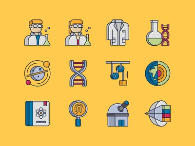 Science Icons biology bioengineering colored line icons optics observatory forensics science journal earth sciences physics astronomy dna erlenmeyer flask laboratory coat laboratory scientist science