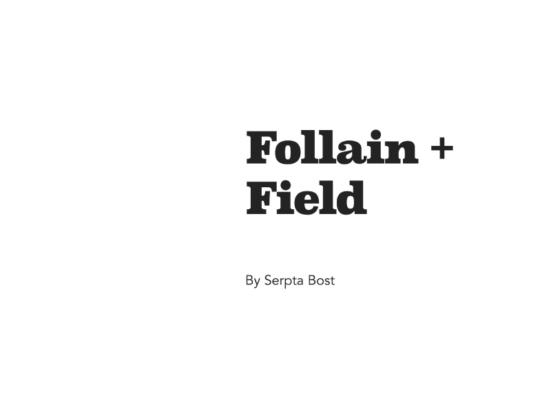 Follain + Field font interior book love title page typography