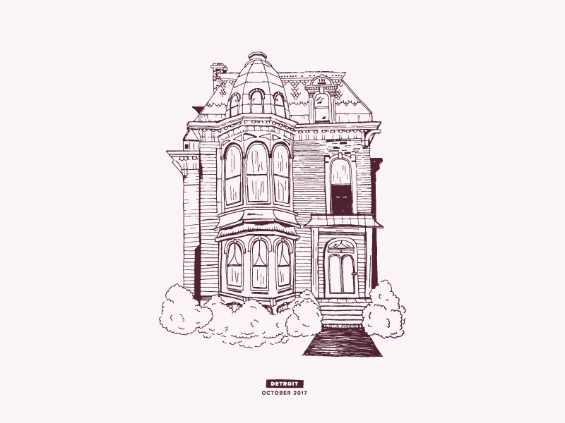 Haunted House   Detroit happy halloween trickortreat halloween scary mystical home haunted house detroit illustration house haunted