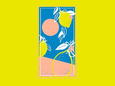 Lemon shore citrus summer fruit lemon procreate illustration