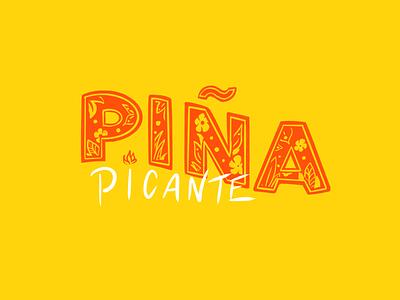 Piña Picante I pineapple logo identity lettering